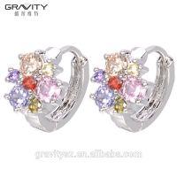 small 925 silver color rhodanizing CZ crystal gemstone ladies fashion earring jewelry