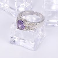 2017 wholesale latest design of  purple cubic zirconia rings jewelry, 18k white gold plate ring