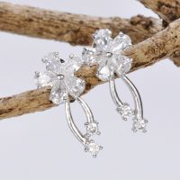 large fashion white gold bridesmaid costume handmade silver jewelry earrings