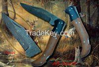 CUSTOM HANDMADE DAMASCUS FOLDING KNIFE,HORN AND WOOD HANDLE AB-1003