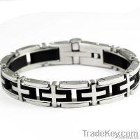 Men 316L Titanium Steel Cross Bangle Bracelets W12