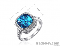 3Carats Blue Crystal Stone Wedding&Engagement Rings R13