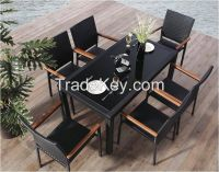 Low Price Black rattan Restaurant dining table and chair set  C770