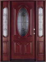 """Deluxe Oval Mahogany Solid 36"""" Entry Door with 2 Sidelites Unit"""