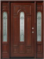 """Center Arch Mahogany 36"""" Entry Door with 2 Sidelites Unit"""