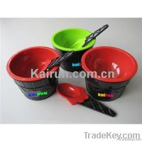 plastic ice cream bowl&spoon set