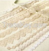 White Embroidered Guipure Lace