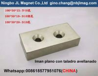 ndfeb magnet 100x50x20mm with cosank hole