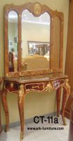 PAIR of Superb Louis XV style Marquetry consoles with mirror