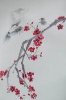 Famous artists Qi Fu, Original Oriental Chinese Painting, theme cat, gongbi painting