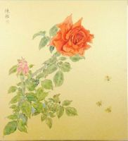 Gold card Chinese painting, Chinese ink and wash painting on hard paper for home decor