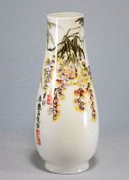 Oriental High Quality Bone porcelain flower vase, decorated by Chinese ink painting in Decal ceramic, by Qi Fu