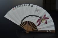 Oriental Chinese painting on folding fan, wholesale handmade bamboo silk paper folding fan