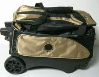 "Two ball bowling bag with 5""pu wheels"