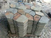 Rusty yellow and green slate meshed floor paving stone