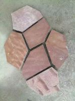 Natural driveway Red slate paving stone mess for path