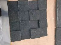 Natural black stone small cube for path paving