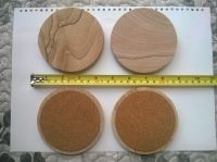 Natural stone Sandstone Material Round Coaster with Cork backing 10cm Diameter