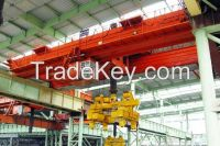 5t electric double girder overhead magnet crane