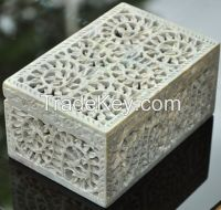 Decorative Box Carving , Marble Inlay Box Handmade, Gift marble boxes,semi-precious stones inlay