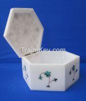 Marble Jewelry Box Lapis Lazuli Luxury Handmade Mosaic Inlay Floral Indian Gift Box