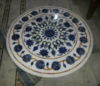Natural Stone Countertop Marble Inlay Table Tops , Decorative Hand-Carved Soapstone Table Top
