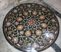 Marble Side Coffee Table Top Inlay Gem Mosaic Floral Home Decoration Table Top