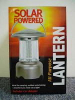Silver Solar Powered Camping Lantern With Wall Adapter