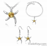 Blue Starfish Love Crystal Gold or Silver Alloy Necklace Bracelet Earr