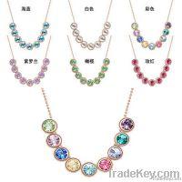 Nine Colorful mood Crystal 18K Gold or Platinum Plated Necklace