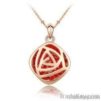 Red Rose Crystal 18K Gold Plated Necklace