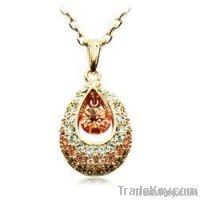 18K Gold Green Indian Princess Tear Drop Crystal Pendant Jewelry Neckl