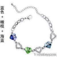 Sea blue, Light yellow, three heart shape crystal Vanilla Sky bracelet W