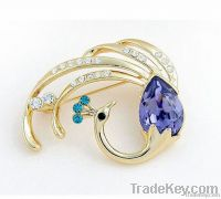 Blue Fire Phoenix Crystal 18K Gold or Silver Alloy Brooch Corsage