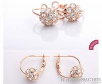 Sea Blue Primrose Ball Crystal 18K Gold or Silver Alloy Earrings Studs