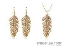 Free Shipping Bohemia Crystal Feather Of Love 18k Platinum Plated Sets
