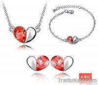 Red Love Whispers  Crystal  Alloyed Necklace Earring Bracelet