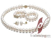 White Freshwater Pearl Jewelry Set pearl and 14k gold clsp