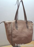 Straw tote handbag