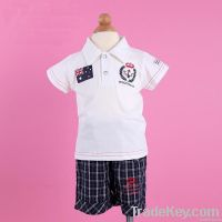 Fashion Summer Babies Boys Navy Lapel T-shirt + Pants