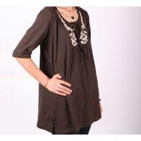 New Ladies dark hemp cotton embroidered tops U