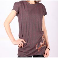 Summer Fashion Brown Ladies O-neck Short sleeves Printted Tshirts T
