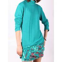 Sell New Womens Choker Blue Long-sleeves Printed pattern Blouse Q