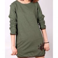 Sell Electronic Girls O-neck Stripped printed long tops M