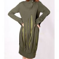 Sell womens long-sleevs tops dark green with buttons stripped pattern K