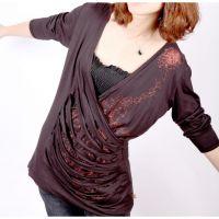 Sell New Girls dark coffee long-sleeves O-collar chiffon Tops adjustable size C