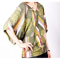 Fashion Colored dots and stripped V-neck Chiffon T-shirts A