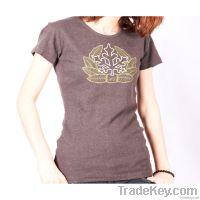 Sell Fashion Summer Women O-neck Printed leaves cotton T-shirts B
