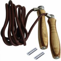 Customized Wooden Handle With Leather or Plastic Skipping Rope