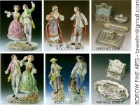 Porcelain - Rococo colorful figures / mirrors